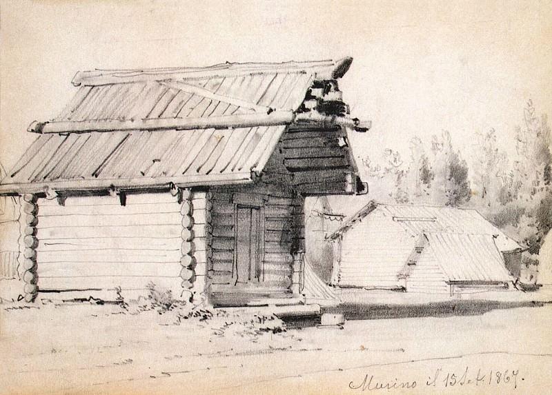 Premazzi, Luigi - The barn and outbuildings in Murino. Sketch. Hermitage ~ part 10