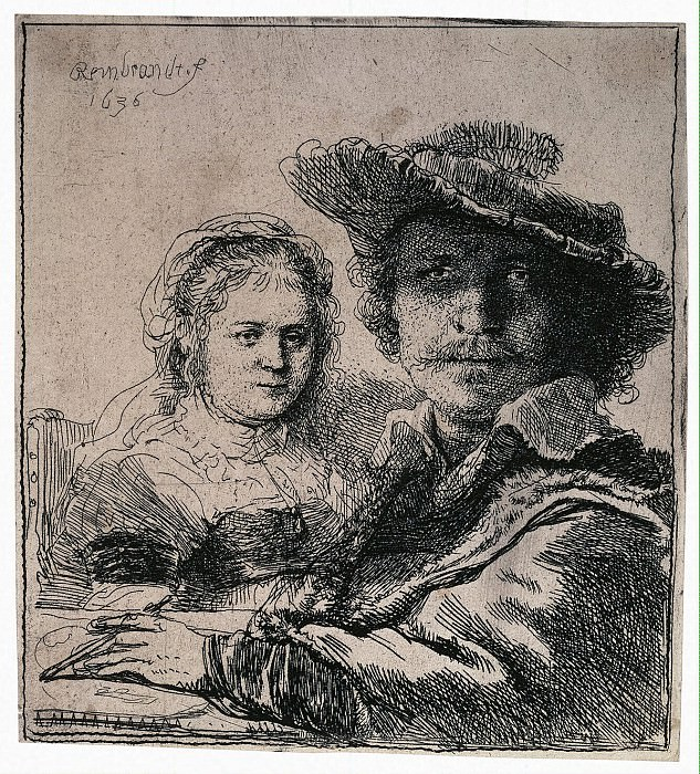 Rembrandt, Harmenszoon van Rijn - Self Portrait with Saskia. Hermitage ~ part 10