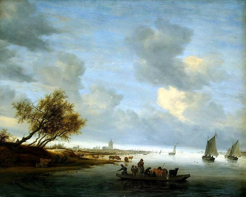 Ruisdael, Salomon van - The crossing on the ferry in the vicinity of Arnhem. Hermitage ~ part 10