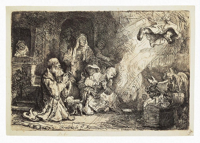 Rembrandt, Harmenszoon van Rijn - Angel leaving the family of Tobias. Hermitage ~ part 10