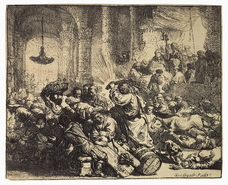 Rembrandt, Harmenszoon van Rijn - Christ expelling merchants from the temple. Hermitage ~ part 10