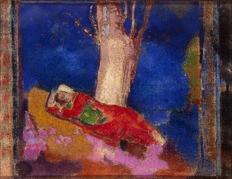 Redon, Odilon - A woman sleeping under a tree. Hermitage ~ part 10