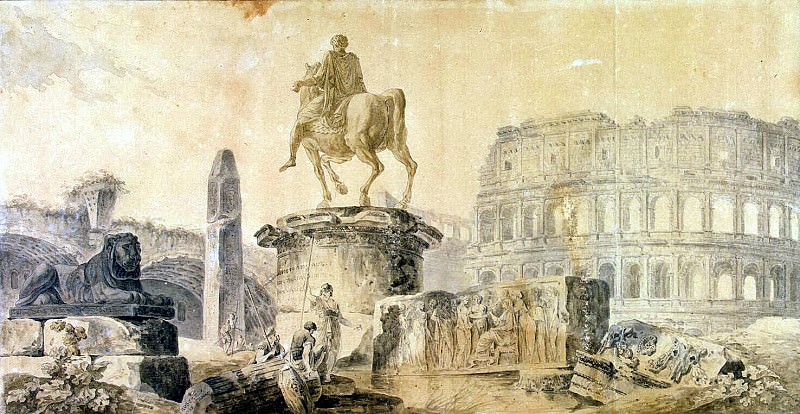 Robert, Hubert - Landscape with the Colosseum and the monument of Marcus Aurelius. Hermitage ~ part 10