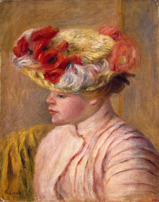 Renoir, Pierre-Auguste - A young woman in a hat with flowers. Hermitage ~ part 10