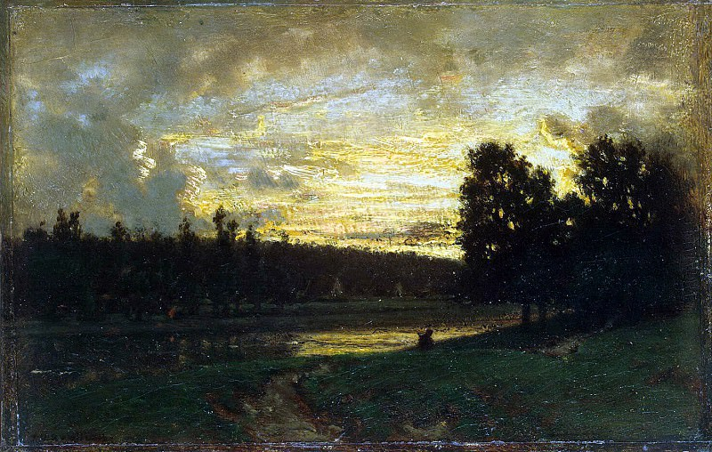Rousseau, Theodore - Landscape with sunset. Hermitage ~ part 10