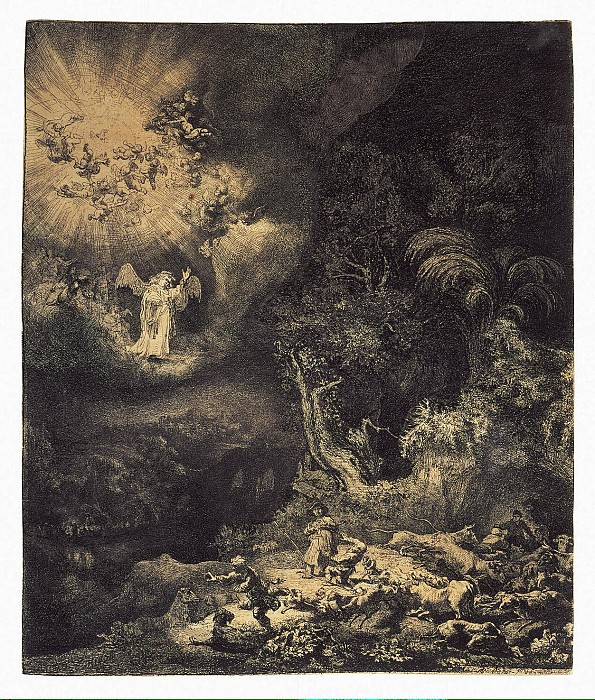 Rembrandt, Harmenszoon van Rijn - Annunciation to the shepherds. Hermitage ~ part 10