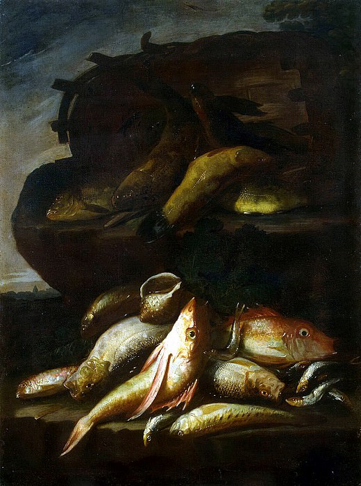 Recco, Helena - Still life with fish and shell. Hermitage ~ part 10
