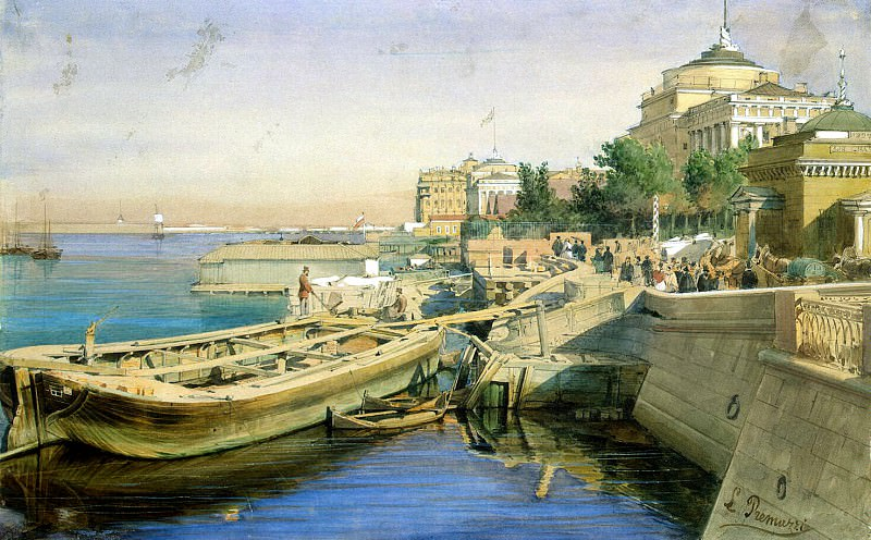 Premazzi, Luigi - Neva Embankment near the Admiralty, St. Petersburg. Hermitage ~ part 10
