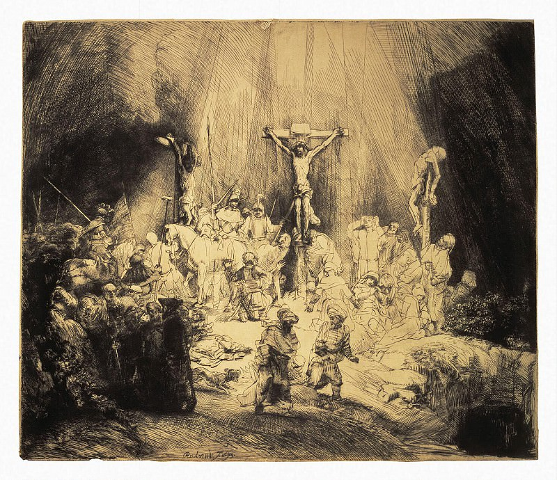 Rembrandt, Harmenszoon van Rijn - Christ, crucified between two thieves. Hermitage ~ part 10