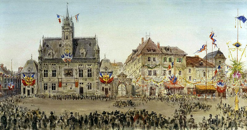 Piasecki, Pavel Ya - Emperors motorcade at the Town Hall Square at Compiegne. Hermitage ~ part 10