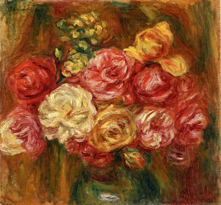 Букет роз в зеленой вазе. Пьер Огюст Ренуар