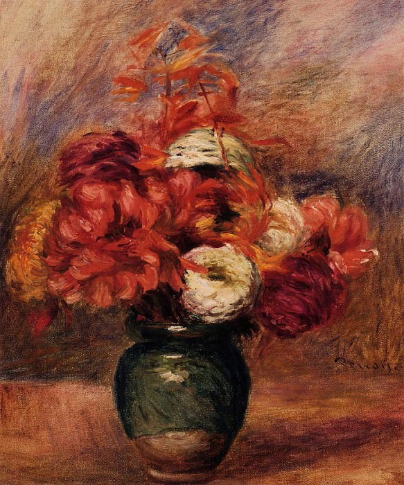 Flowers in a Green Vase - Dahlilas and Asters - 1910. Pierre-Auguste Renoir