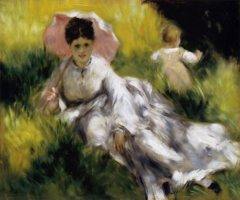 Woman with Parasol - 1873. Pierre-Auguste Renoir