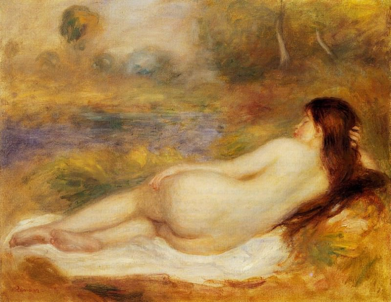 Nude Reclining on the Grass - 1890. Pierre-Auguste Renoir