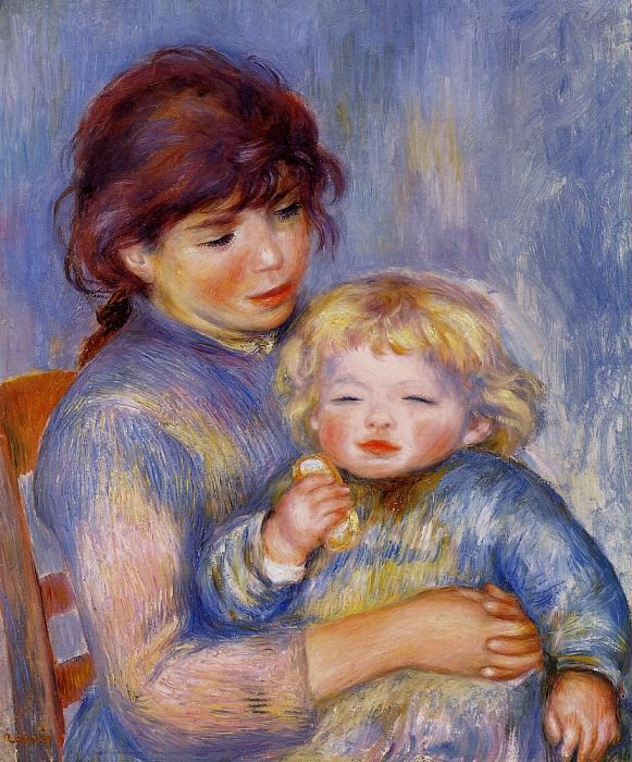 Motherhood (also known as Child with a Biscuit) - 1887. Pierre-Auguste Renoir