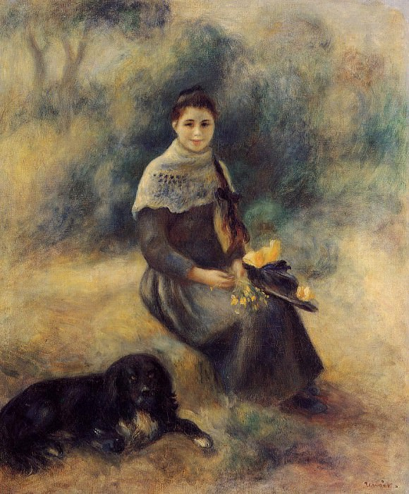 Young Girl with a Dog - 1888. (Private collection). Pierre-Auguste Renoir
