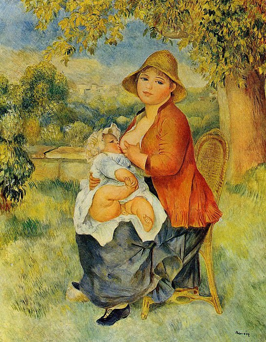 Motherhood (also known as Woman Breast Feeding Her Child) - 1886. Pierre-Auguste Renoir