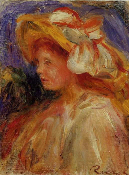 Profile of a Young Woman in a Hat. Pierre-Auguste Renoir