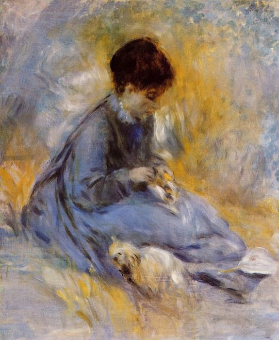 Young Woman with a Dog - 1876. Pierre-Auguste Renoir