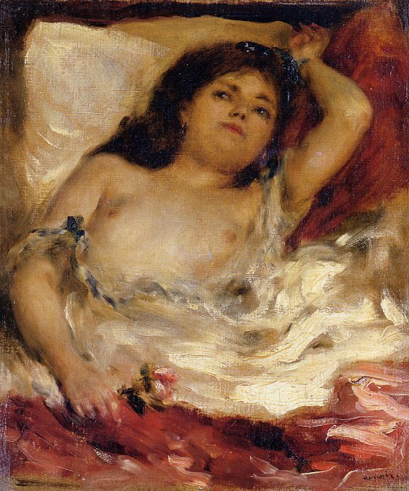Reclining Semi-Nude (also known as nude male half-length). Pierre-Auguste Renoir