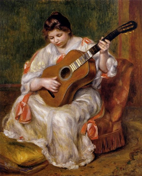 Woman Playing the Guitar - 1896. Pierre-Auguste Renoir