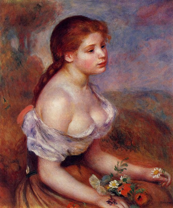 Young Girl with Daisies - 1889. Pierre-Auguste Renoir