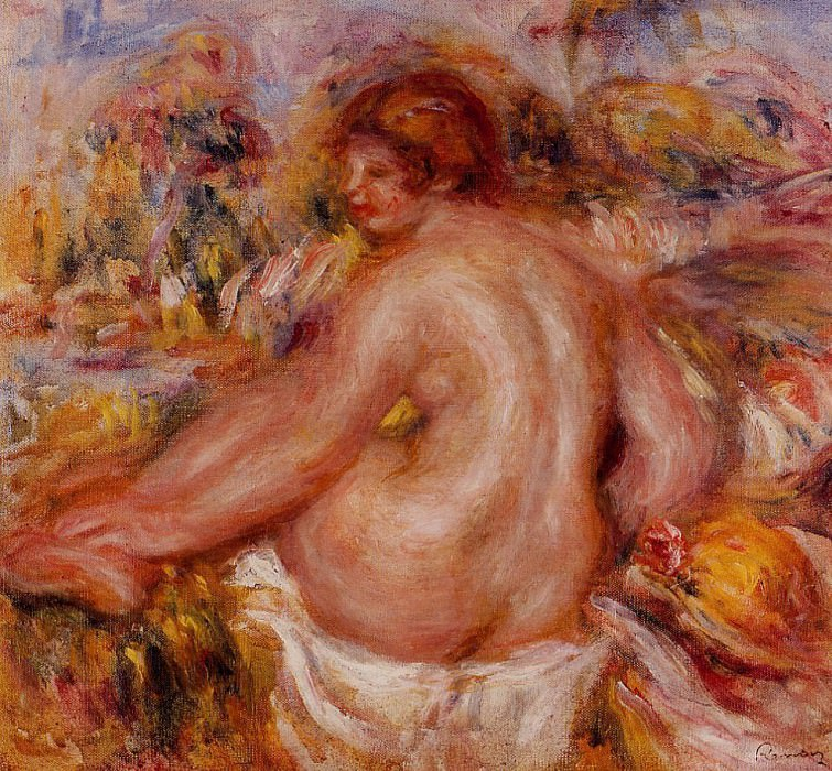 After Bathing, Seated Female Nude. Pierre-Auguste Renoir
