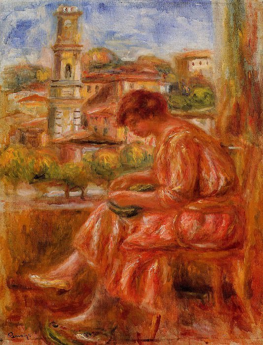 Woman at the Window with a View of Nice - 1918. Пьер Огюст Ренуар