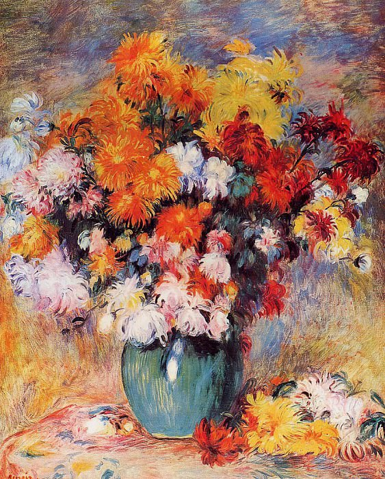 Vase of Chrysanthemums - 1890. Пьер Огюст Ренуар