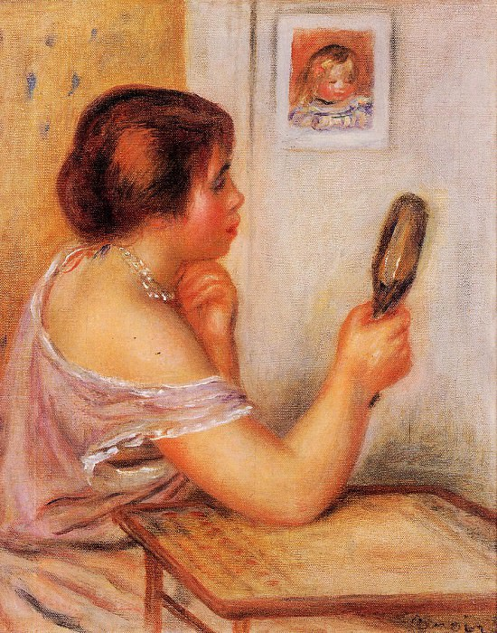 Gabrielle Holding a Mirror with a Portrait of Coco. Pierre-Auguste Renoir