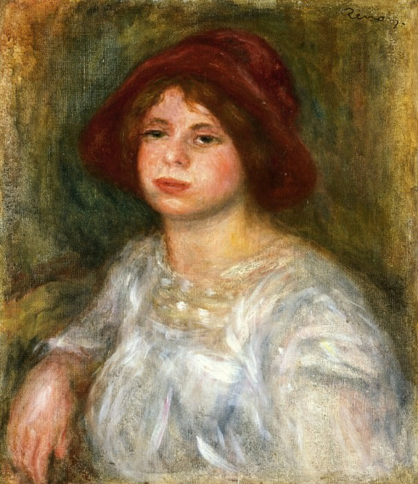 Girl in a Red Hat - 1913. Pierre-Auguste Renoir