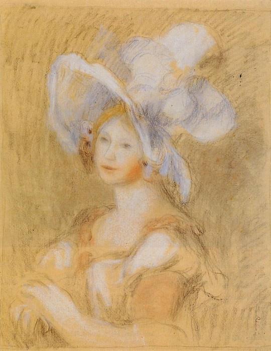 Amelie Dieterie in a White Hat - 1894. Pierre-Auguste Renoir