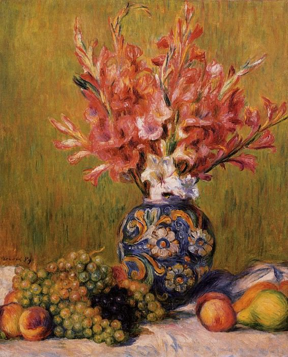 Still Life - Flowers and Fruit - 1889. Pierre-Auguste Renoir