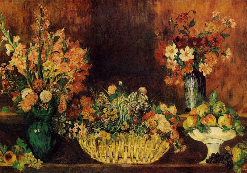 Vase, Basket of Flowers and Fruit - 1889 - 1890. Pierre-Auguste Renoir