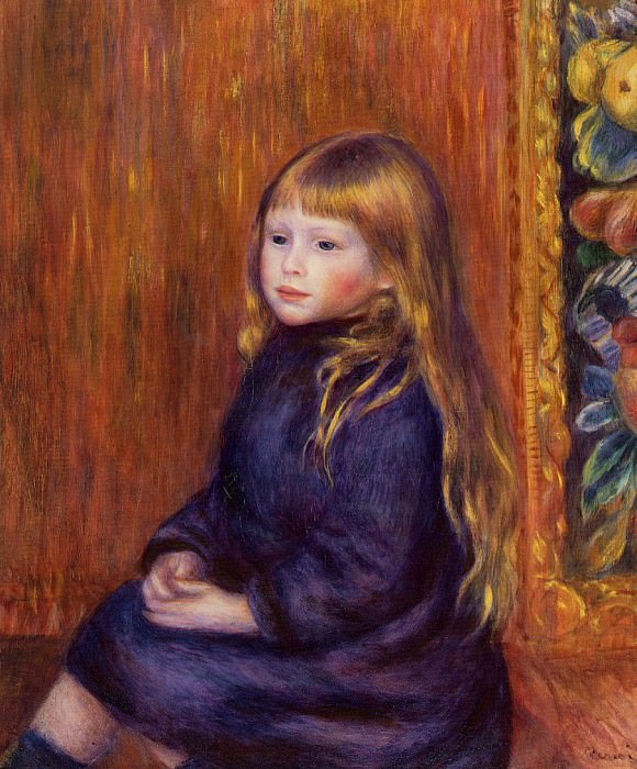Seated Child in a Blue Dress - 1889. Pierre-Auguste Renoir