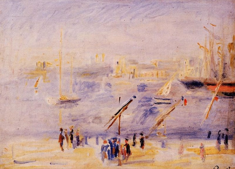 The Old Port of Marseille, People and Boats - 1890. Pierre-Auguste Renoir