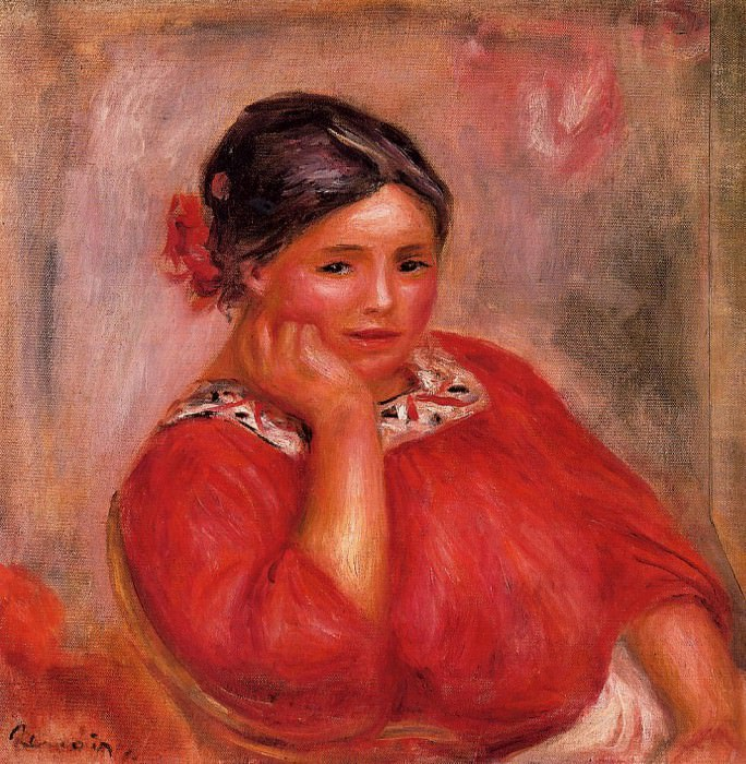 Gabrielle in a Red Blouse - 1896. Pierre-Auguste Renoir