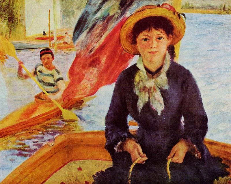 Canoeing (also known as Young Girl in a Boat) - 1877. Pierre-Auguste Renoir