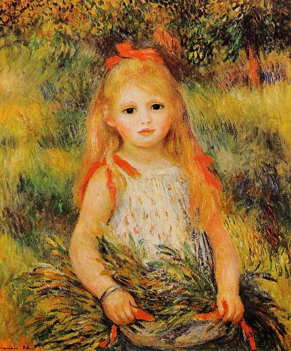 Little Girl with a Spray of Flowers - 1888. Pierre-Auguste Renoir