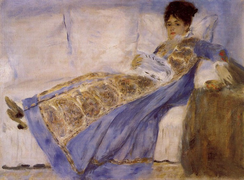 Madame Monet on a Sofa - 1874. Pierre-Auguste Renoir