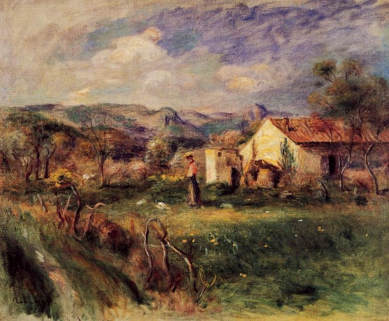 Young Woman Standing near a Farmhouse in Milly - 1892. Pierre-Auguste Renoir