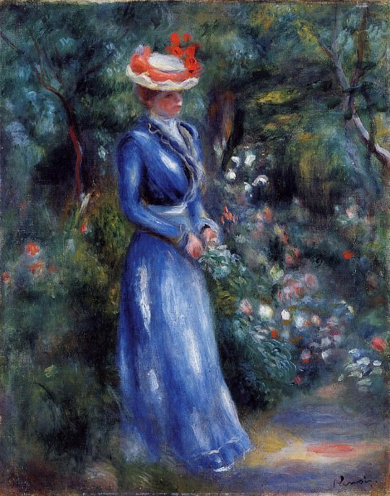 Woman in a Blue Dress, Standing in the Garden of Saint-Cloud - 1899. Pierre-Auguste Renoir