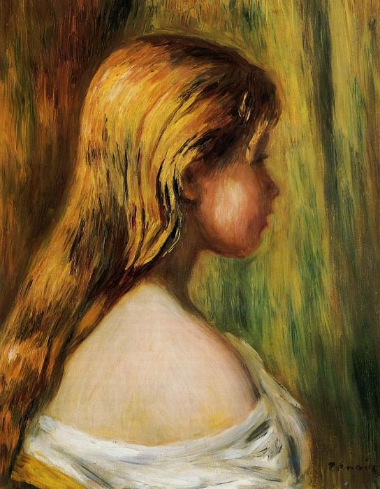 Head of a Young Girl - 1890. Pierre-Auguste Renoir