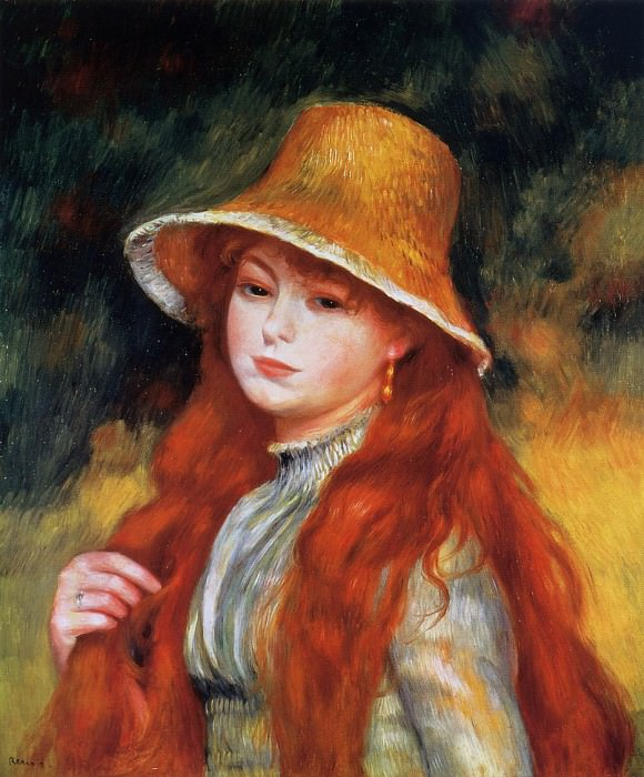 Young Girl in a Straw Hat - 1884. Pierre-Auguste Renoir