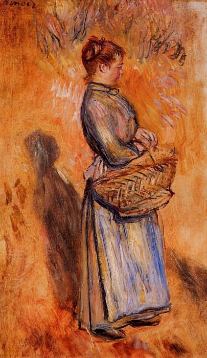 Peasant Woman Standing in a Landscape - 1884. Pierre-Auguste Renoir
