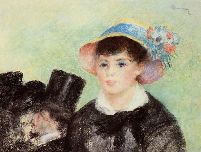 Young Woman in a Straw Hat - 1877. Pierre-Auguste Renoir