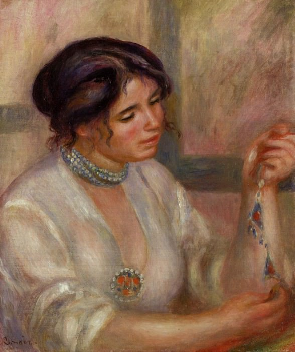 Woman with a Necklace - 1910. Pierre-Auguste Renoir
