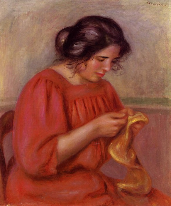 Gabrielle Mending - 1908. Пьер Огюст Ренуар