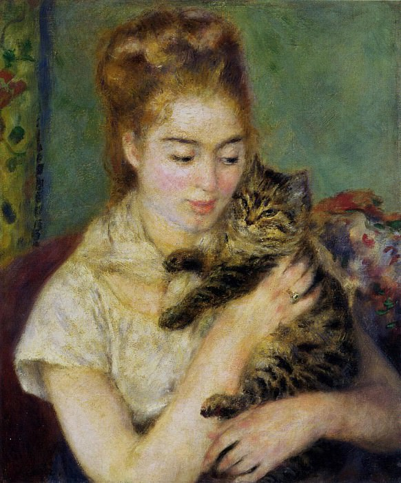 Woman with a Cat - 1875. Pierre-Auguste Renoir