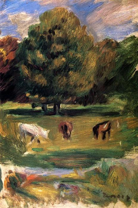Landscape with Horses. Pierre-Auguste Renoir